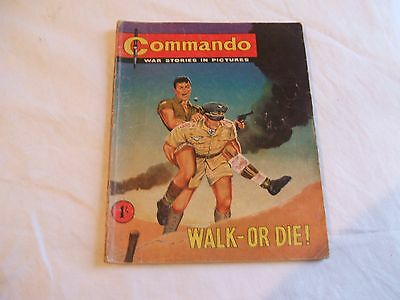 RARE Commando War Stories In Pictures No 1 - Walk - Or Die! (1961) DC Thomson