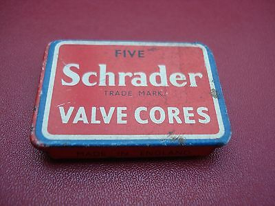Old Collectable Schrader Valve Cores Tin with Slide Top