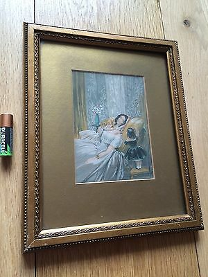 Antique Miniature Colour Engraving Mother & Daughters Gilt Wood Frame 19th C
