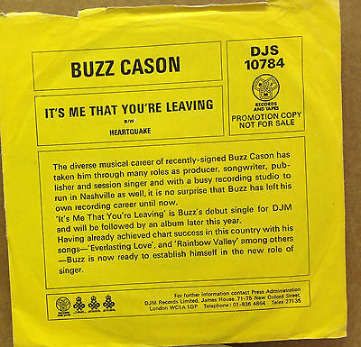 "BUZZ CASON-It's Me That You're Leaving-PROMO-7"" 45rpm Record-DJS 10784-1977"