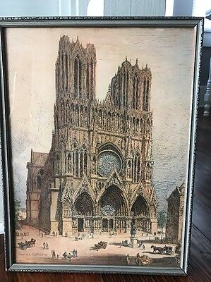 "Vintage Sketching ""Rheims Cathedral"" 12 ""x16"" Art Religious Print Framed."