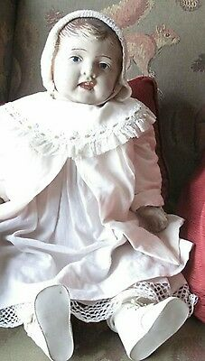 """Large 28"""" Antique Composition Baby Doll  and pillow estate sale find."""