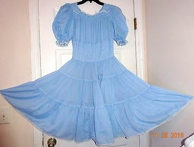 Square Dance Dress & Belt, Sky Blue Dotted Swiss Lacy Size S/m