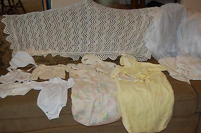 Lot of Assorted Vintage Baby Clothes, Bunting Sacks, Blankets