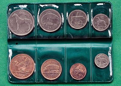 1966  Brilliant Uncirculated coins of Eire - Ireland  8 coins in green wallet