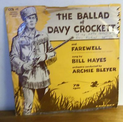 Rare 1955 THE BALLAD OF DAVY CROCKET 78RPM Record by Bill Hayes CADENCE