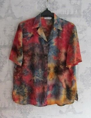Vintage Rainbow Colourful Tie Dye Shirt with Glitter Buttons, Size 12/14