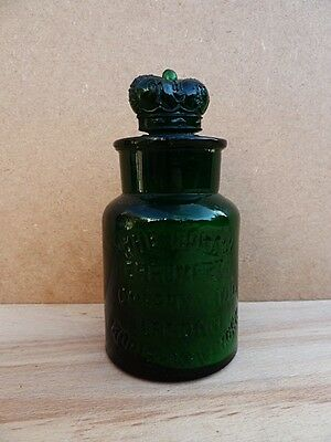 Vintage Green Crown Perfumery Bottle With Ornate Stopper