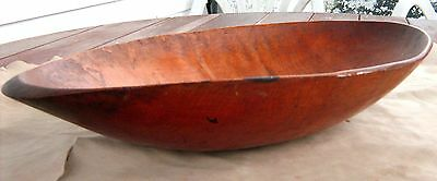 RARE c.1790 IROQUOIS NATIVE AMERICAN INDIAN PART BURL BOWL HAND HEWN THIN CARVED
