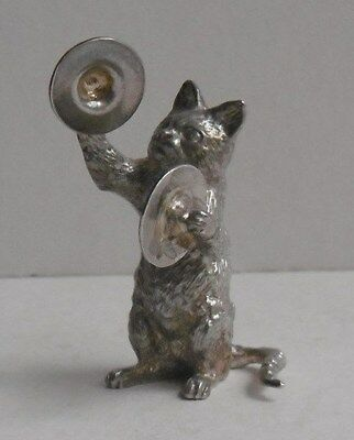 S J Rose & Sons  Sterling Silver Cat Orchestra Musician Playing Cymbals 1990