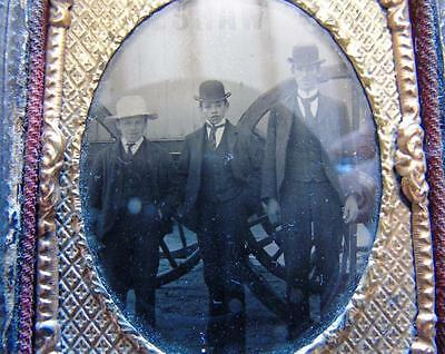 Victorian Ambrotype Photograph Walshaw Gentleman and Boys Huge Cart Wheels