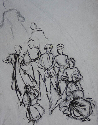 Original 19th Century Ink drawing classical group figure study