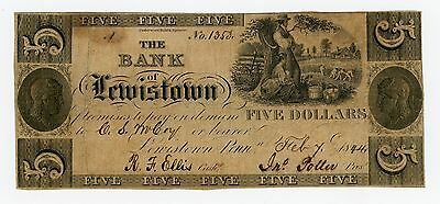 1844 $5 The Bank of Lewistown, PENNSYLVANIA Note
