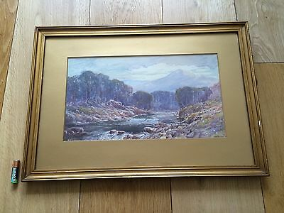 Antique Watercolour Landscape Painting Gilt Frame Signed Burrows Early 20th C