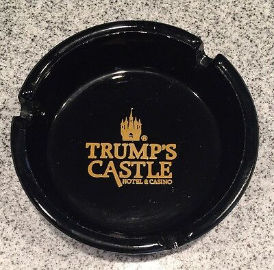 Vintage RARE Trump's Castle Hotel Casino Ashtray Black Glass