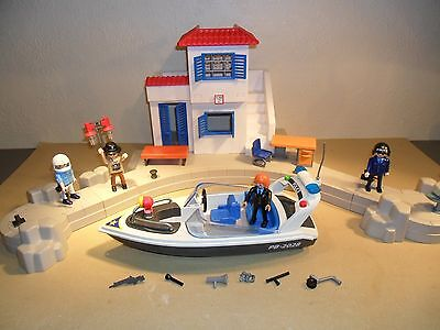 PLAYMOBIL POLICE HARBOUR SET (police station and boat)