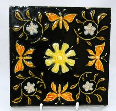 Antique 19Th C Hand Painted Porcelain Chinese Moths Victorian Wall Tile