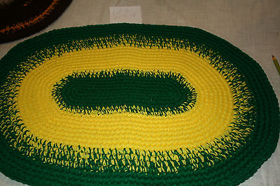 "Crocheted Yarn Rug Oval sz 21"" x 14"" madeby Gramma - New Lt#2 Green & Yellow"