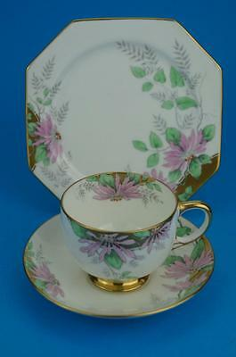 PARAGON Superb ART DECO Trio of Cup, Saucer & Plate Jewelled Pink POINSETTIA