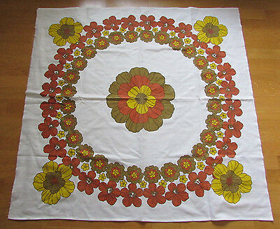 FAB RARE ORIGINAL VINTAGE c1960s/70s GROOVY RETRO FLOWER POWER TABLE CLOTH