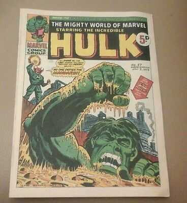 Rare Uk Classic Mighty World Marvel Hulk Comic No 57 Nov 1973 Vg Used Condition