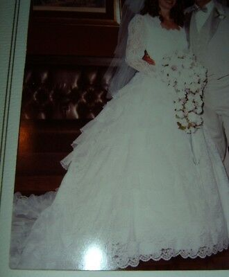 Vtg 1980's Wedding Ball Gown Train Bustle Southern Belle Enactment Lace Beads M