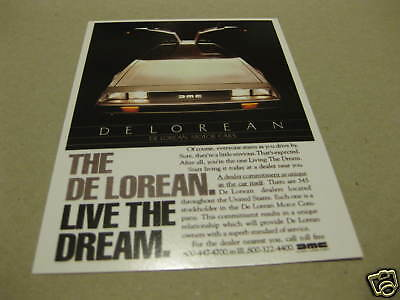 Delorean (Back To The Future Car) Postcard Of An Advert New