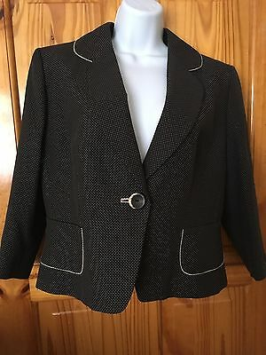 Ladies Black Spotted Jacket By Principles. Size 16.