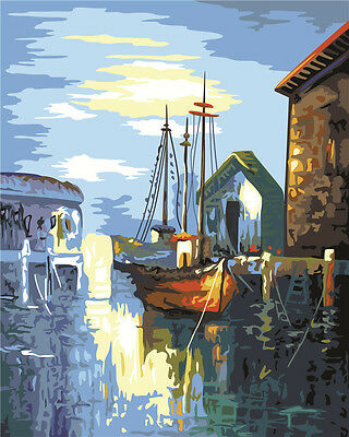 "16X20"" Paint By Number Kit DIY Acrylic Painting on Canvas Boats 793"