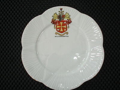 """Foly China England Crested Ware Plate With """"wolverhampton"""" Good Condition"""