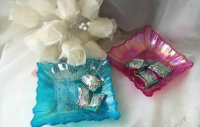 Candy dish -  pink and blue square candy dishes - set of two - home decor