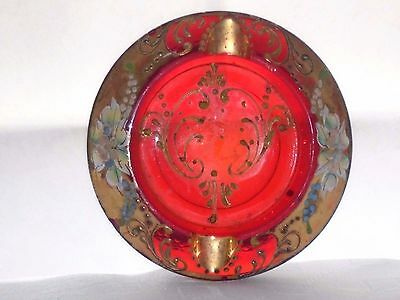 Vintage Hand Enamelled & Gilded , Pressed Murano Ruby Red Glass Ashtray