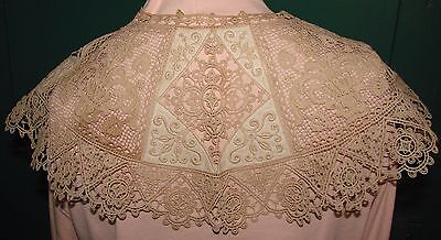 Antique Embroidered Net Lace and Embroidered Linen Collar