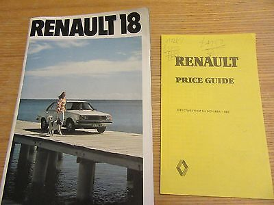 Vintage renault 18 brochure with price list 1980