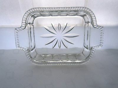 Old Vintage Glass Butter Or Condiment Tray