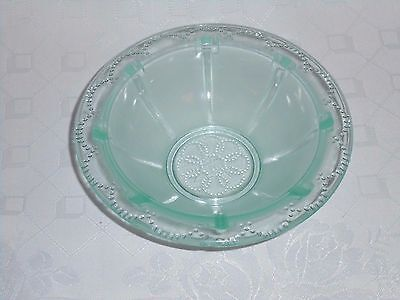 Vintage French Part-Frosted Green Art Deco Style Glass Bowl
