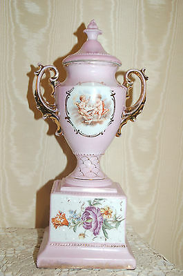 Antique Porcelain Fireplace Luster Urn with Victorian Cherubs & Florals! Grand!