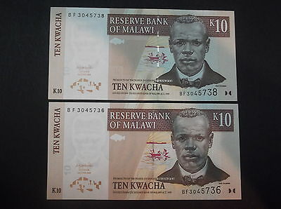 MALAWI 10 kwacha 2004 UNC 2 almost CONSECUTIVE NUMBERS BANKNOTES CURRENCY notes