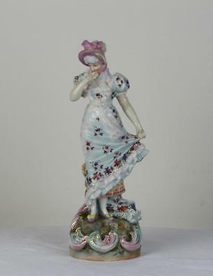 Antique Large Porcelain Dresden Rudolstadt Figurine of Young Lady.