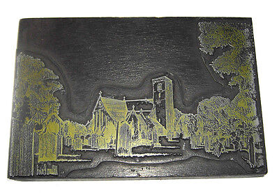 Vintage Letterpress Printing Block Of A Church