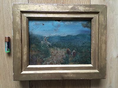 Antique Miniature Oil Painting Landscape Gilt Wood Frame Early 19th C