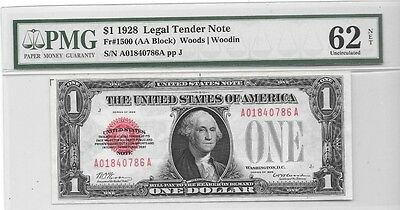1928 $1 Red Seal Funnyback United States Legal Tender Pmg 62 Net