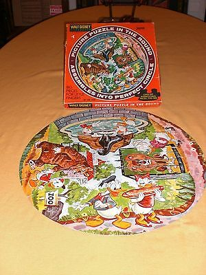 """""""At the Zoo"""" Vintage Walt Disney Character Picture puzzle in the the round"""