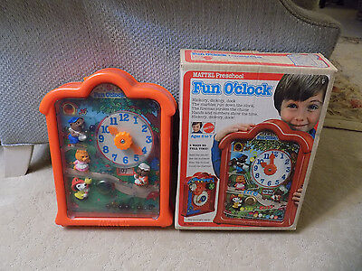 Vtg 1976 Mattell 3D w figures Fun O' Clock Learn to tell time Marble Toy w box U