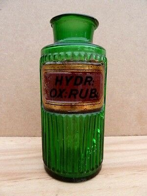 Antique Small Green Glass Apothecary / Chemist / Pharmacy Bottle: Hydr: Ox: Rub: