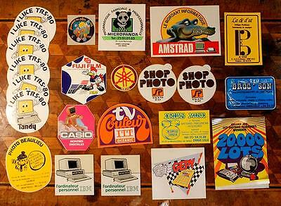 Lot Vintage French 70s 80s Retro Computer Nerd Gaming Electronic Stickers Decals