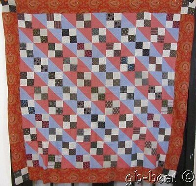 Lancaster Blue! 1890-1900 PA Jacobs Ladder Antique QUILT Top 70 x 71""