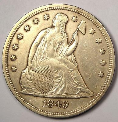 1849 Seated Liberty Silver Dollar $1 - XF/AU Details - Rare Early Type Coin!