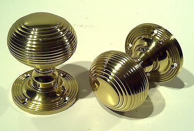 Joblot 9x Pairs BRASS Reeded Beehive Mortice Door Knobs Door Handles