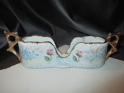 Antique Artist Painted Porcelain Coffee Spoon Tray Holder Roses Forget Me Not